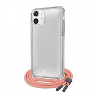 Cover trasparente con laccio da collo colorato per iPhone 12/12 Pro