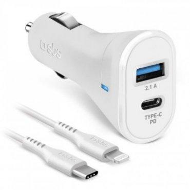 Lightning cable + 18 watt PD charger car kit