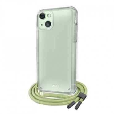Transparent cover with coloured neck strap for iPhone 13