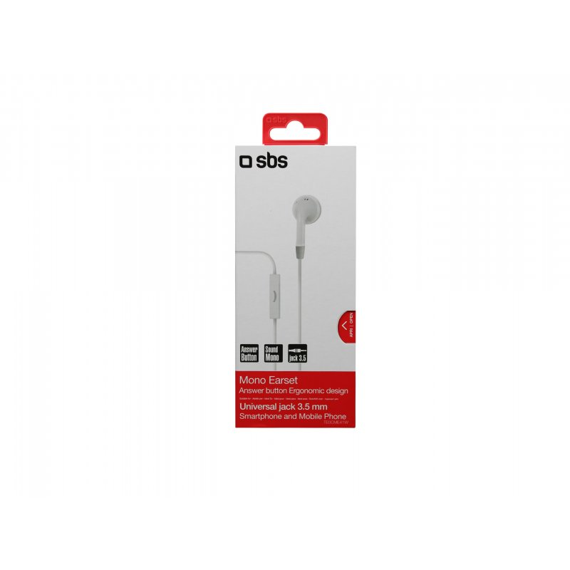 Earset wired mono Alone, jack 3,5 mm with microphone and answer button